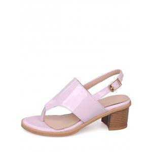 Plus Size Leisure Chunky Heel Buckled Thong Sandals -