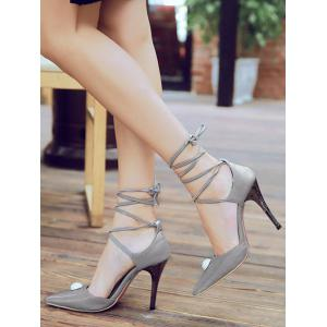 Plus Size Rhinestone Pointed Toe Lace Up Pumps -