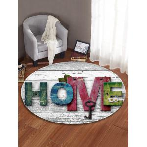 Home Wood Grain Pattern Anti-skid Round Floor Rug -