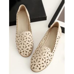 Plus Size Slip On Laser Cut Out Scallop Loafers -