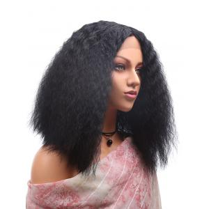 Medium Center Parting Corn Hot Curly Synthetic Lace Front Wig -