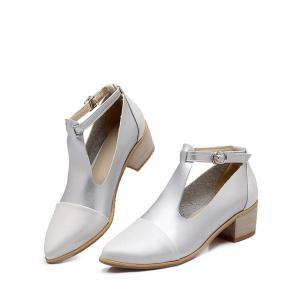 Plus Size Cut Out Block Heel Pointed Toe Ankle Boots -
