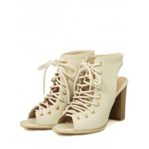 Plus Size Peep Toe Block Heel Backless Lace Up Sandals -