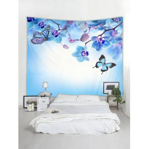 Wall Hanging Art Butterfly and Flowers Print Tapestry -