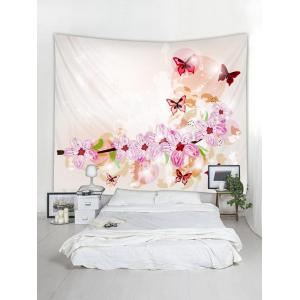 Wall Hanging Decoration Butterflies and Flowers Print Tapestry -
