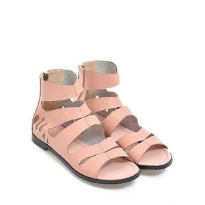 Plus Size Hollow Out Leisure PU Leather Outdoor Sandals -