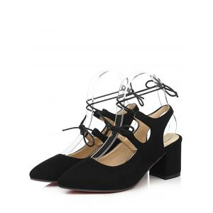 Plus Size Block Heel Chic Pointed Toe Lace Up Sandals -