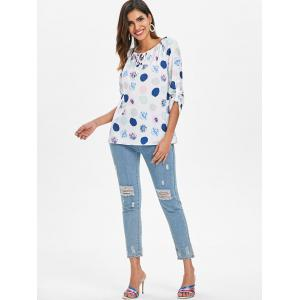 Long Sleeve Polka Dot Print Top -