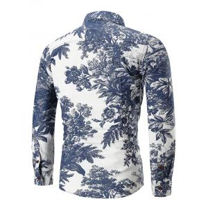 Ethnic Style Flowers and Leaves Print Long Sleeve Shirt -