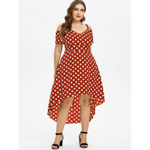 Plus Size Polka Dot High Low Dress -