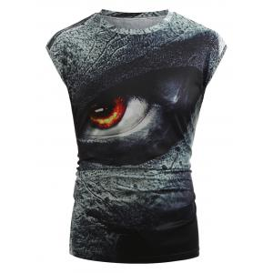 3D Angry Eyes Print Tank Top -