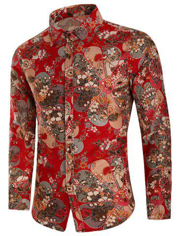 Affordable Floral Print Button Up Long Sleeve Shirt