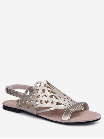 Discount Plus Size Casual Hollow Out Flat Heel Slingback Sandals