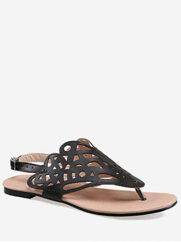 Shop Plus Size Leisure Hollow Out Slingback Thong Sandals