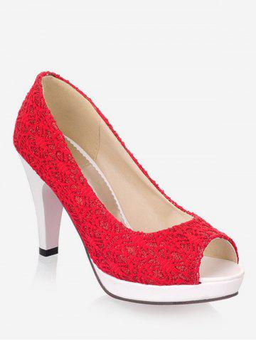 Hot Plus Size High Heel Chic Peep Toe Prom Pumps