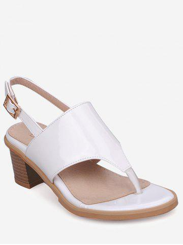 Chic Plus Size Leisure Chunky Heel Buckled Thong Sandals