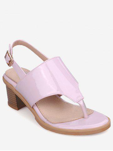 Trendy Plus Size Leisure Chunky Heel Buckled Thong Sandals