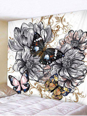 Sale Wall Hanging Art Vintage Butterfly and Flowers Print Tapestry