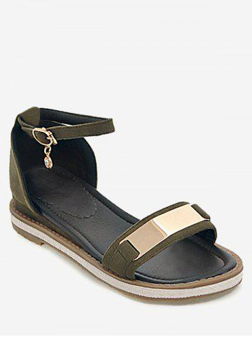 Fancy Plus Size Holiday Ankle Strap Low Heel Sandals