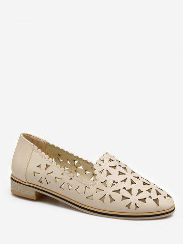 Cheap Plus Size Slip On Laser Cut Out Scallop Loafers