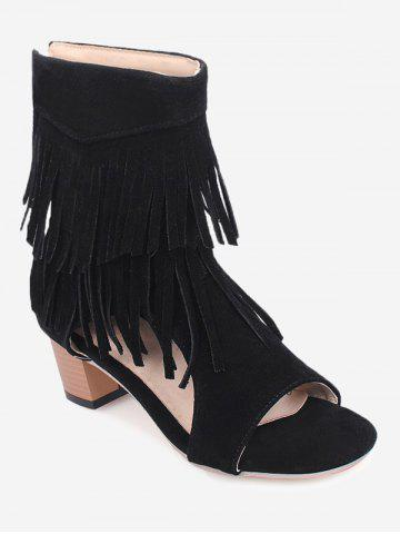 Chic Plus Size Low Heel Hollow Out Fringe Decoration Sandals