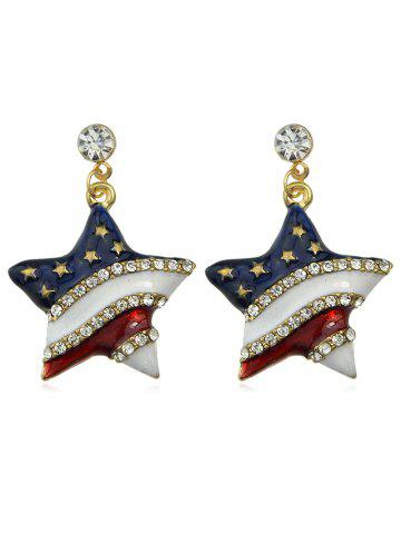 Rhinestone American Flag Pattern Dangle Earrings - Gold