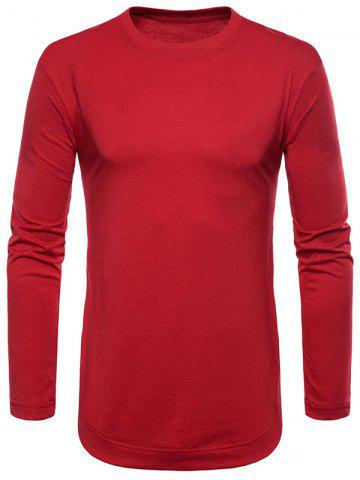 Sale Curved Seam Hem Solid Color Long Sleeve T-Shirt