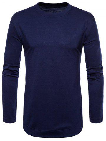 Store Curved Seam Hem Solid Color Long Sleeve T-Shirt