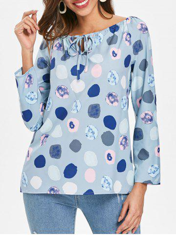 Chic Long Sleeve Polka Dot Print Top