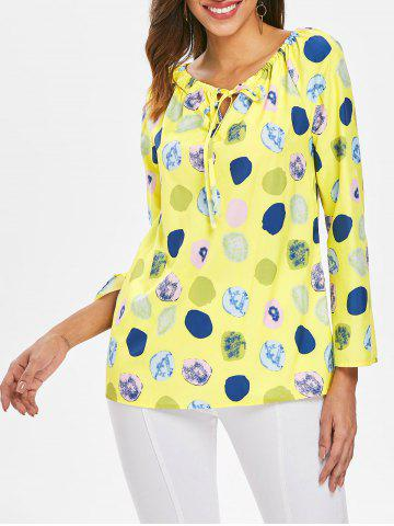 Affordable Long Sleeve Polka Dot Print Top
