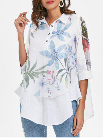 Fashion Floral Overlay Tunic Top