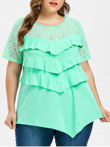 Fancy Plus Size Lace Ruffle T-shirt