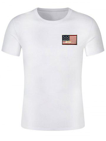 Affordable Chest Patriotic American Flag Panel Tee Shirt