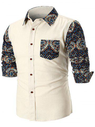 Online Contrast Trible Print Pocket Long Sleeve Casual Shirt