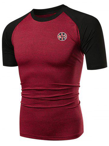 Shops Fast Dry Applique Contrast Color Breathable Activewear T-shirt