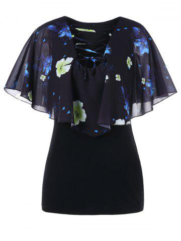 Flower Print Chiffon Panel Blouse