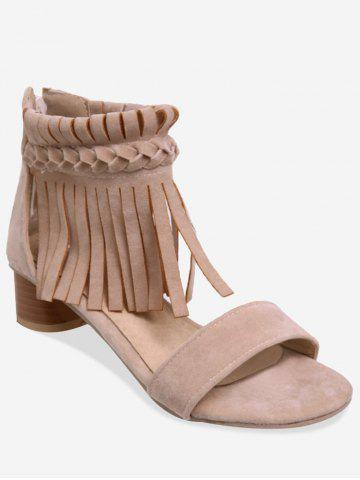Plus Size Block Heel Fringes Decoration Ankle Sandals - BEIGE - 38
