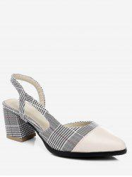 Plus Size Pointed Toe Block Heel Chic Splicing Slingback Sandals -