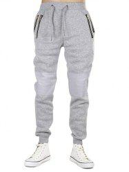 Zipper Pockets Panel Narrow Feet Jogger Pants -