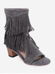 Plus Size Low Heel Hollow Out Fringe Decoration Sandals -
