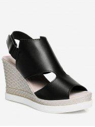 Plus Size Espadrille Wedge Heel Cut Out Sandals -