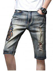 Vintage Indian Embroidery Torned Casual Denim Shorts -