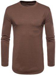 Curved Seam Hem Solid Color Long Sleeve T-Shirt -
