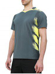 V Neck Geometric Print Quick Dry Sports T-shirt -