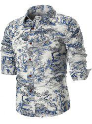 Chinese Style Architecture and Flowers Print Long Sleeve Shirt -