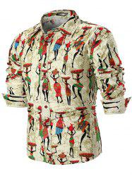 Tribal Figures Print Long Sleeve Casual Shirt -