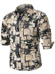 Ethnic Style Square Painting Print Long Sleeve Shirt -