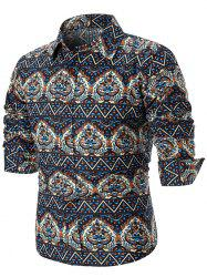 Ethnic Style Tribal Print Long Sleeve Shirt -