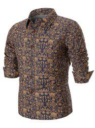 Ancient Symbols Print Long Sleeve Casual Shirt -