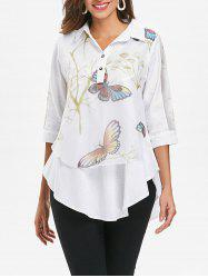 Printed Overlay Tunic Top -